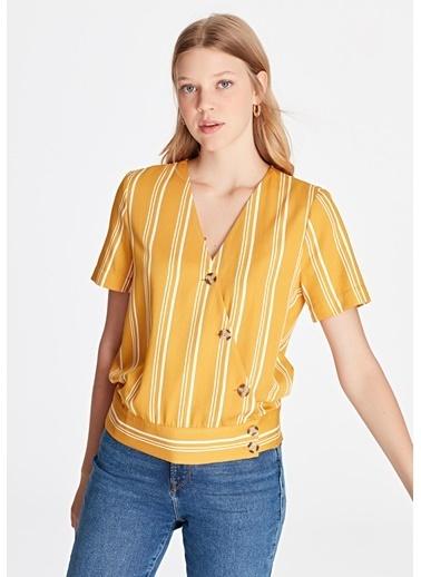 Mavi Düğme Detaylı  Bluz Sarı